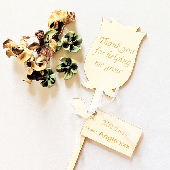 Personalised Wooden Thank You Teacher Flower - Rose