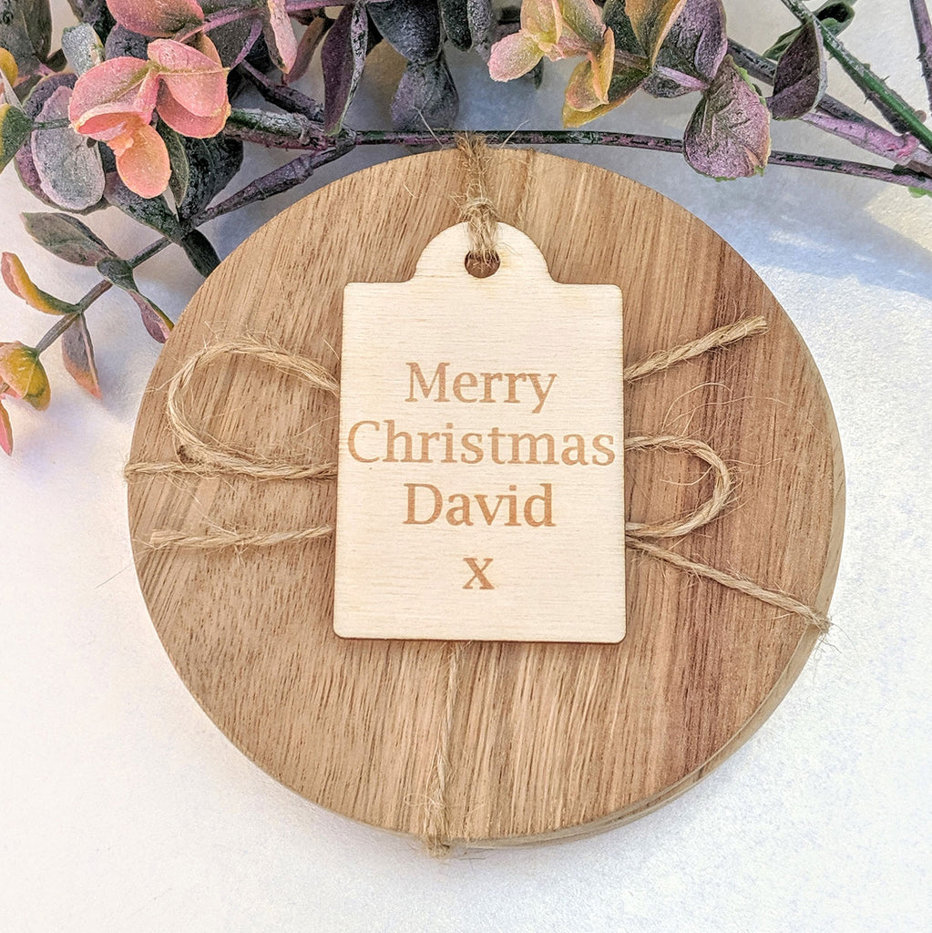 Personalised Wooden Scalloped Gift Tag