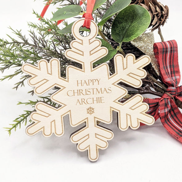 Personalised Wooden Christmas Tree Decoration - Snowflake