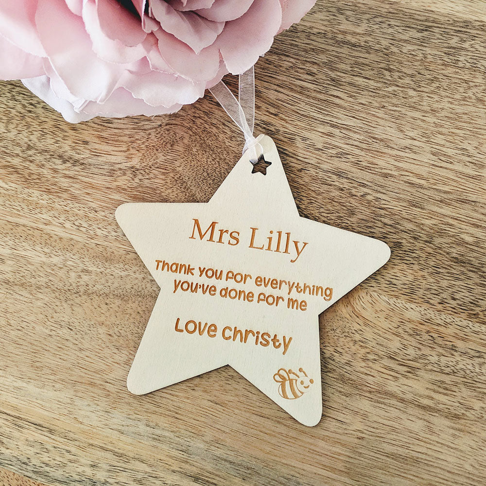 Personalised Wooden Thank You Teacher Gift Tag - Star