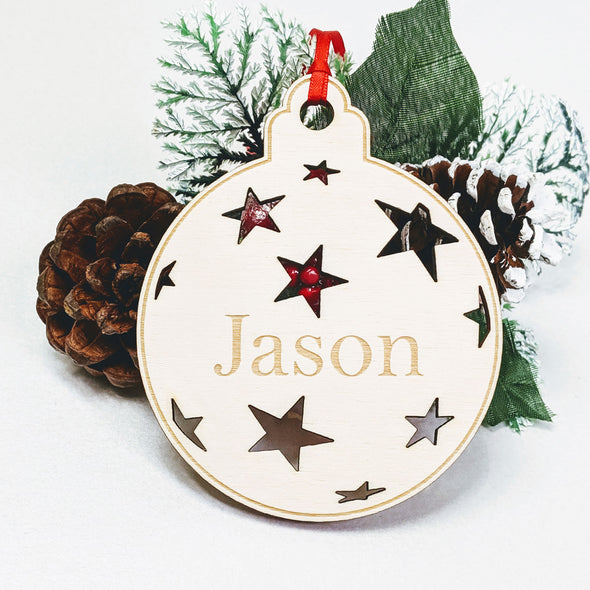 Personalised Wooden Christmas Tree Decoration - Starlight Bauble