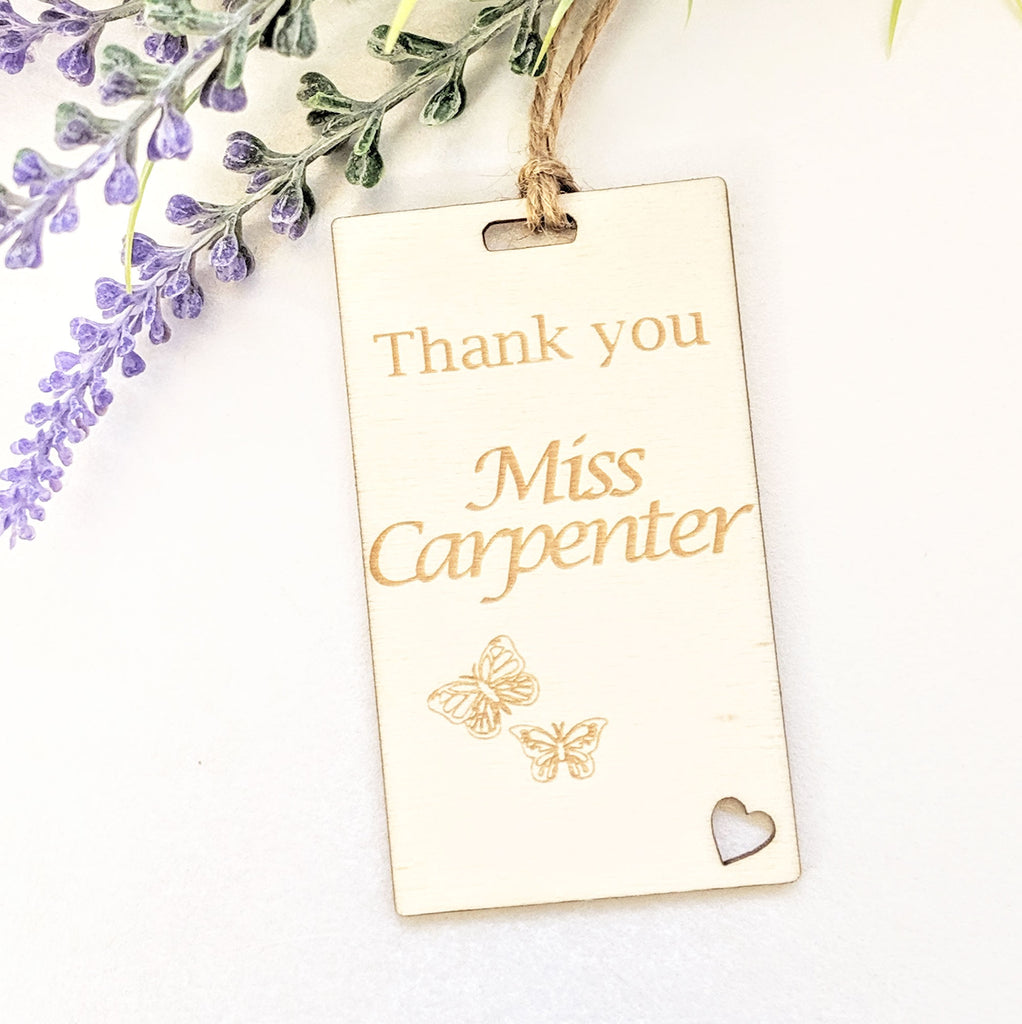Personalised Wooden Thank You Teacher Gift Tag - Butterflies