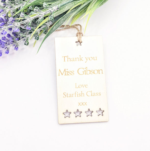Personalised Wooden Thank You Teacher Gift Tag - Stars