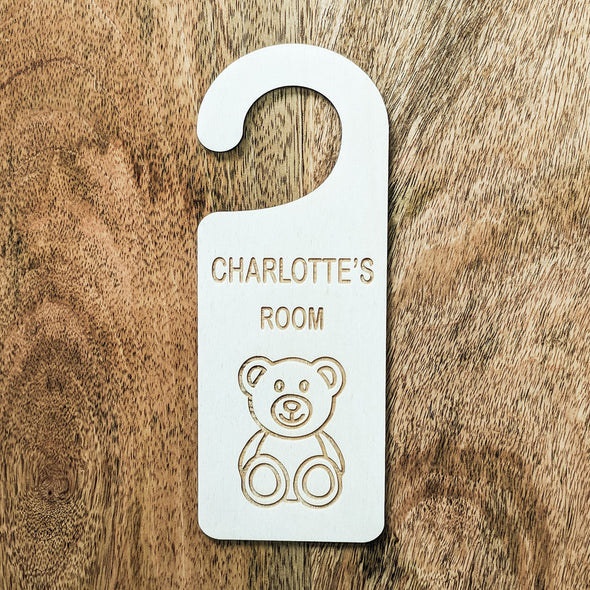 Personalised Wooden Teddy Bear Door Hanger