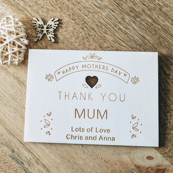 Personalised Wooden Mother's Day Card - Thank You