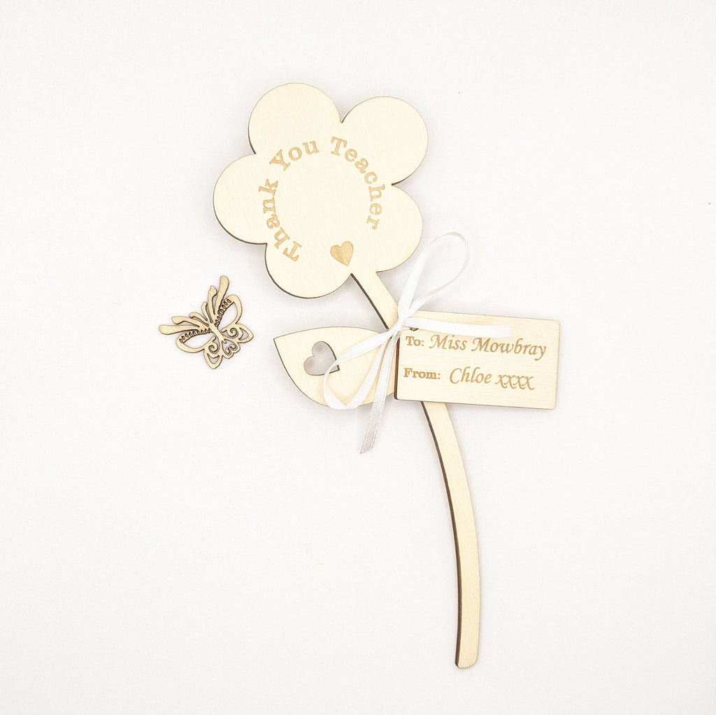 Personalised Wooden Flower - Thank You Teacher