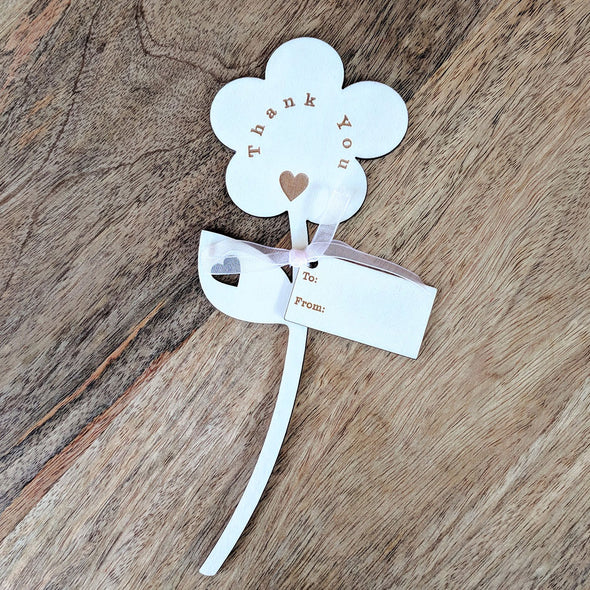 Thank You Wooden Flower - Single Flower with Tag