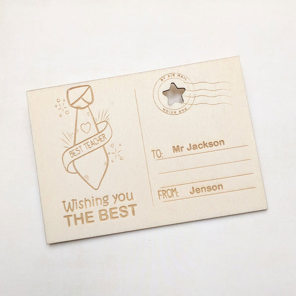 Personalised Wooden Best Teacher Card