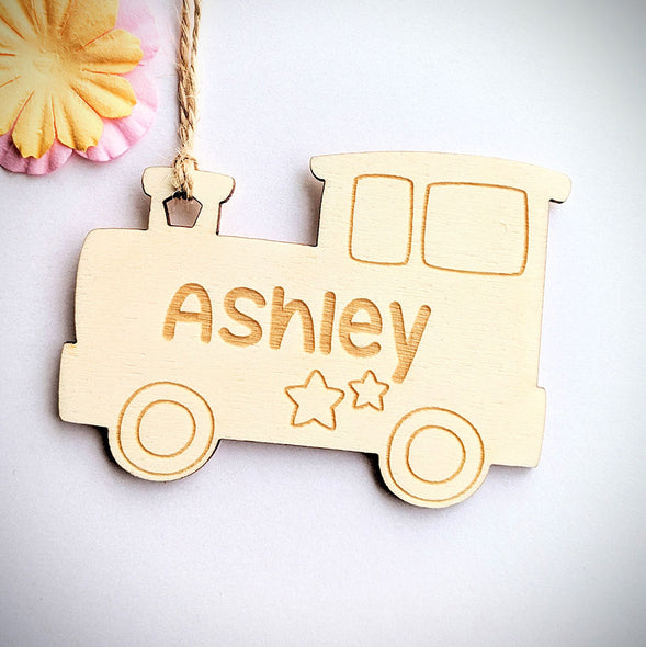 Personalised Wooden Train Gift Tag