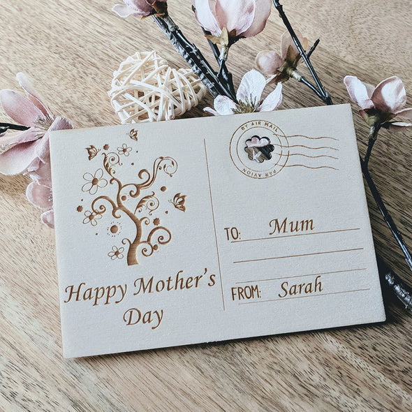Personalised Wooden Happy Mother's Day Card - Tree