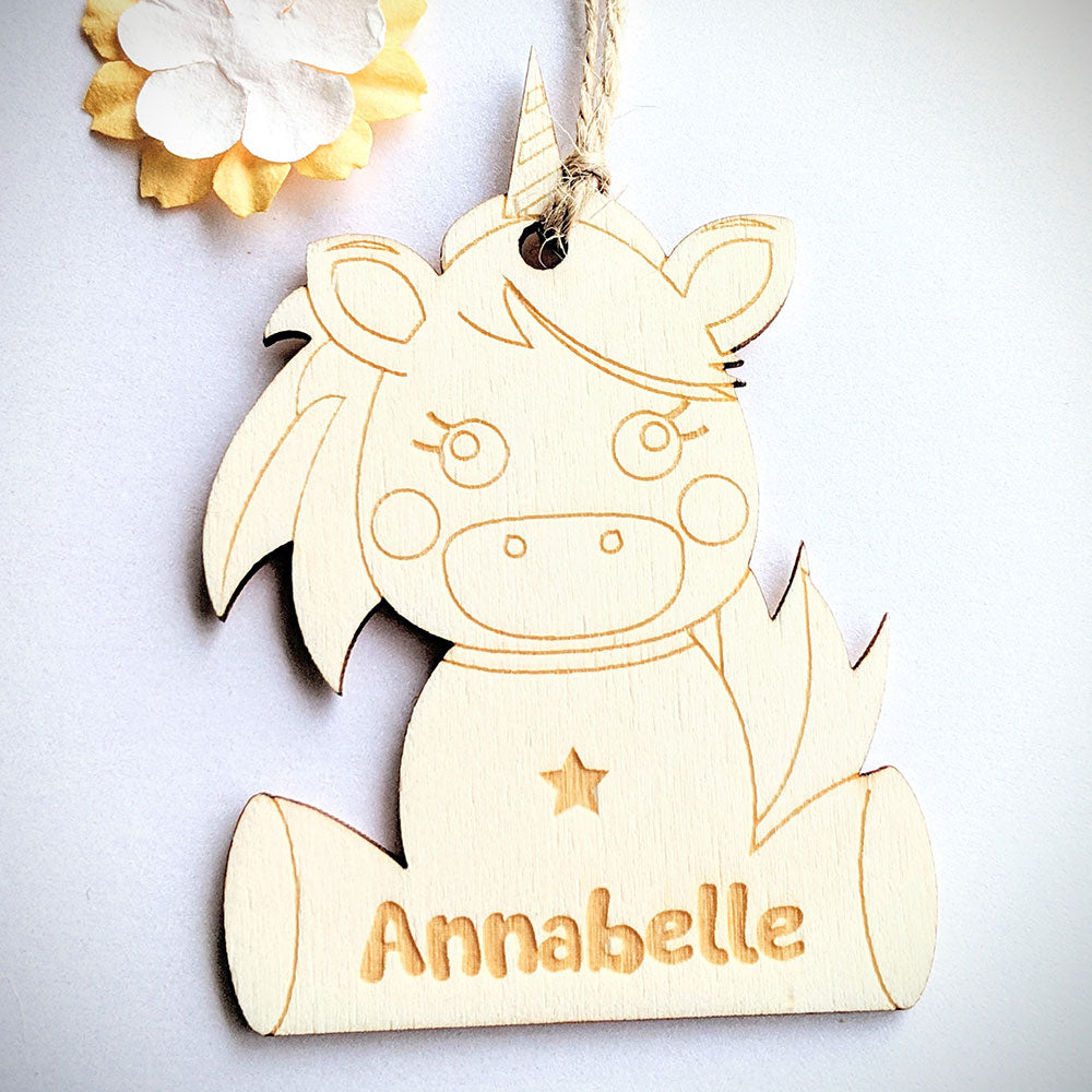 Personalised Wooden Unicorn Gift Tag