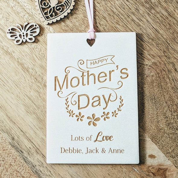Personalised Wooden Happy Mother's Day Card - Floral Banner