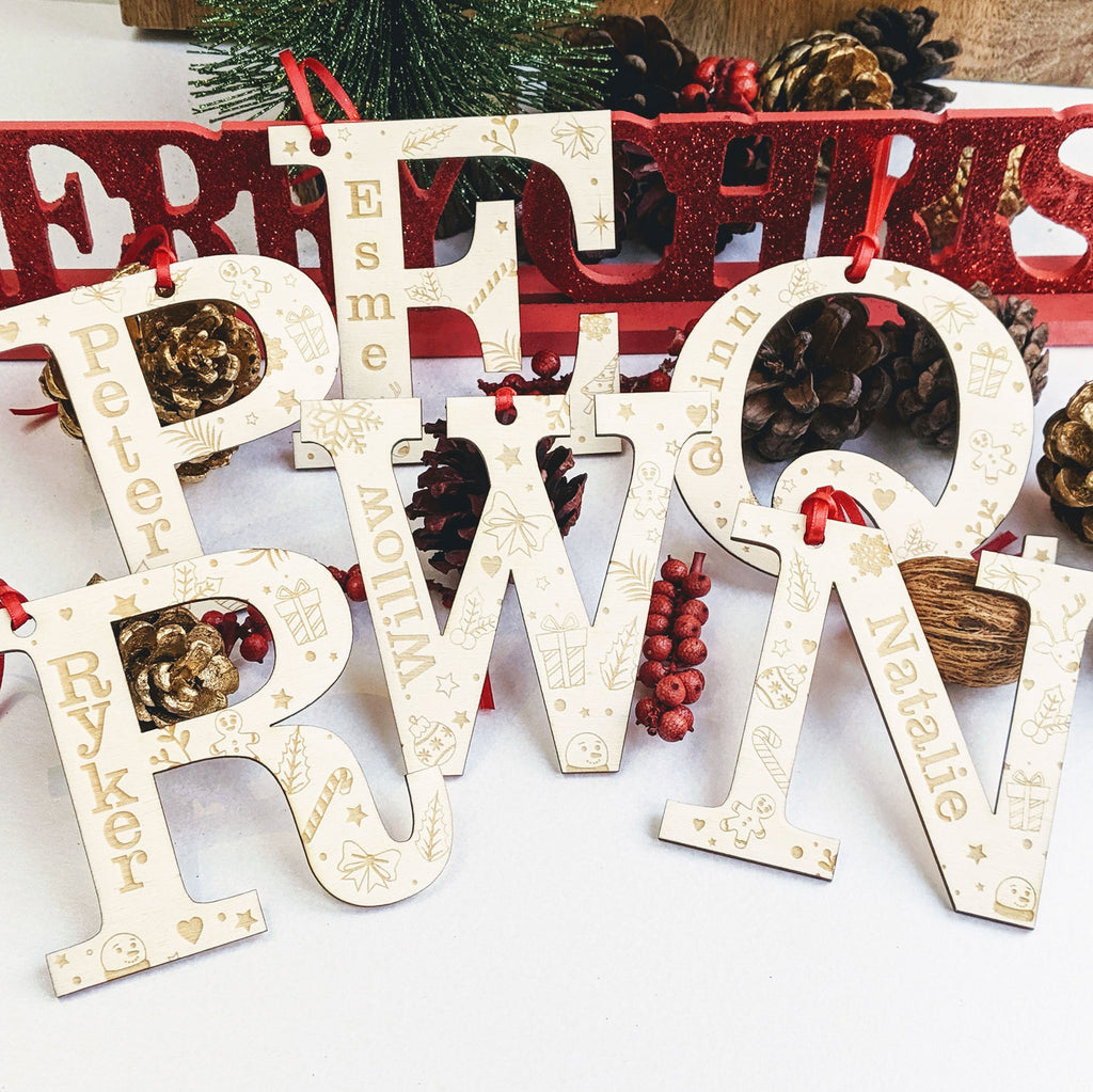 Personalised Wooden Christmas Tree Initial/Letter