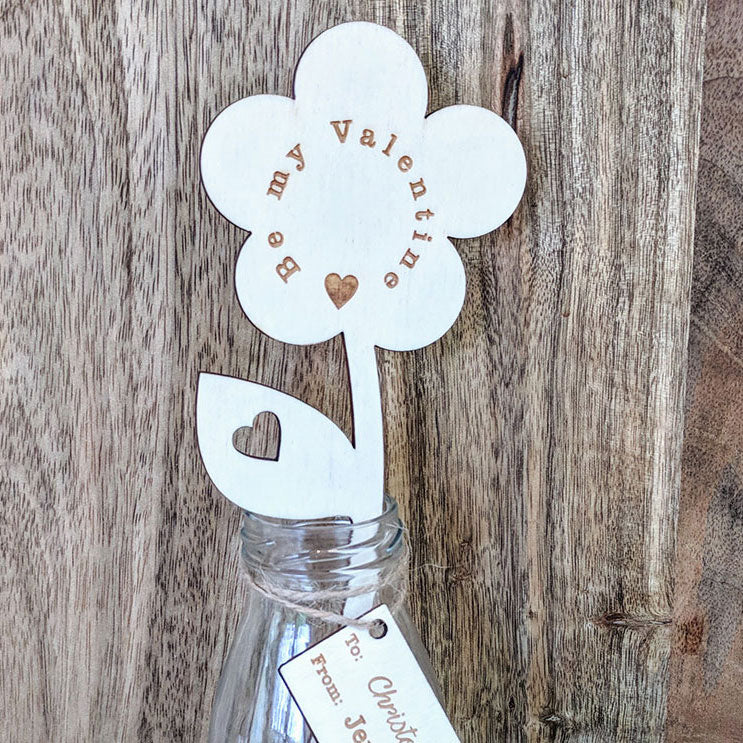 Personalised Be My Valentine Wooden Flower with Small Vase