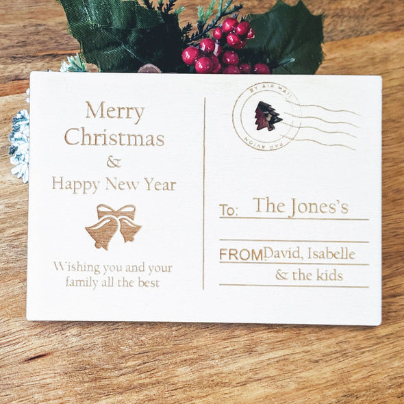 Personalised Wooden Merry Christmas Card - Bells