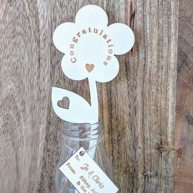 Personalised Congratulations Wooden Flower with Small Vase