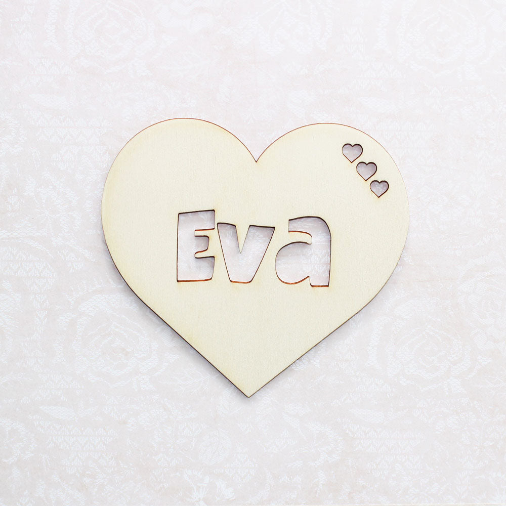 Personalised Wooden 3 Cutout Heart Bedroom Sign