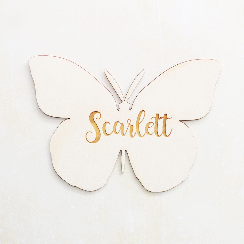 Personalised Wooden Butterfly Bedroom Sign