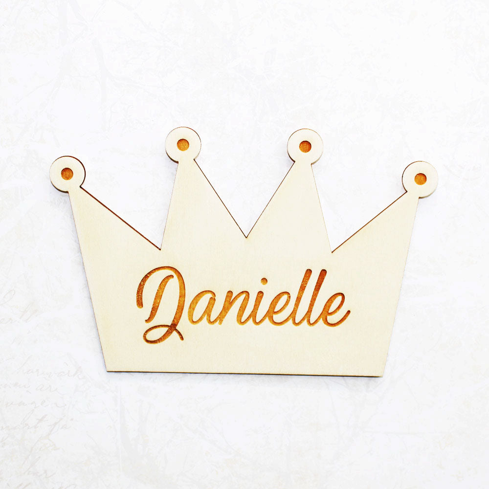 Personalised Wooden Princess Crown Bedroom Sign