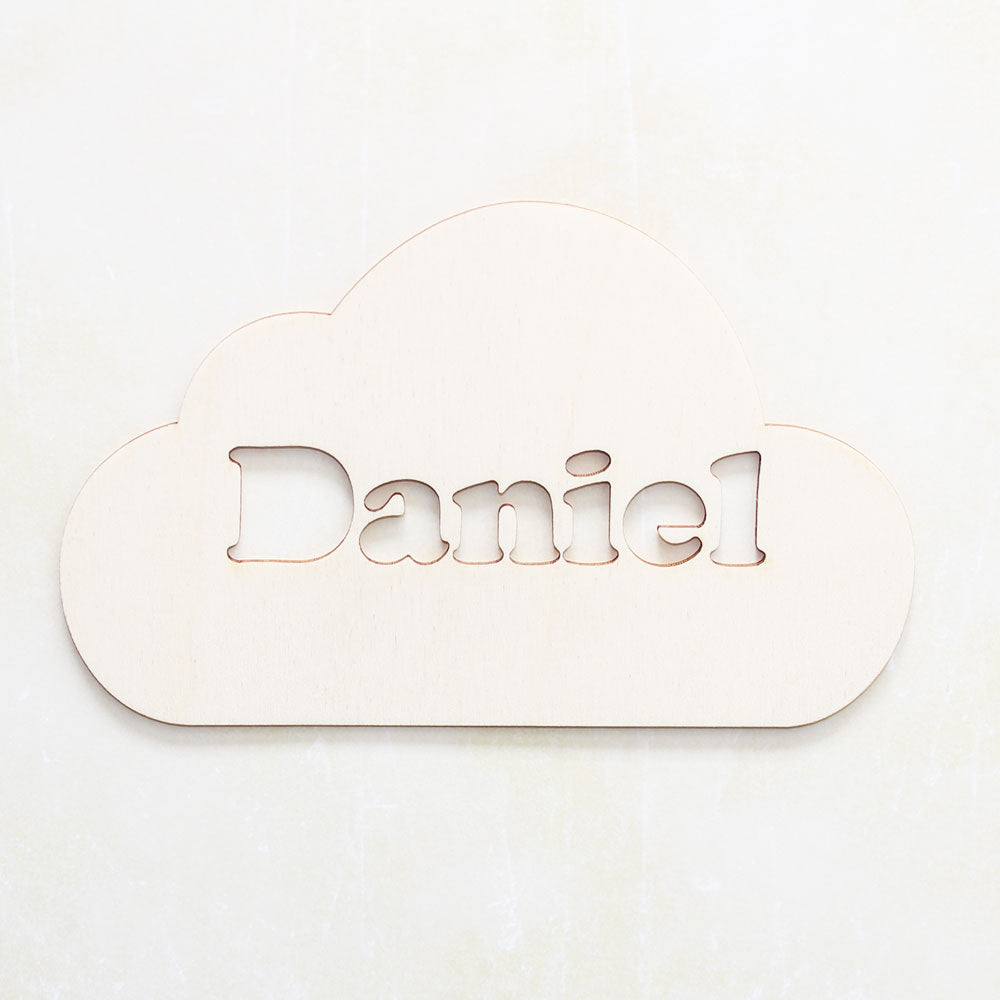 Personalised Wooden Cutout Cloud Bedroom Sign