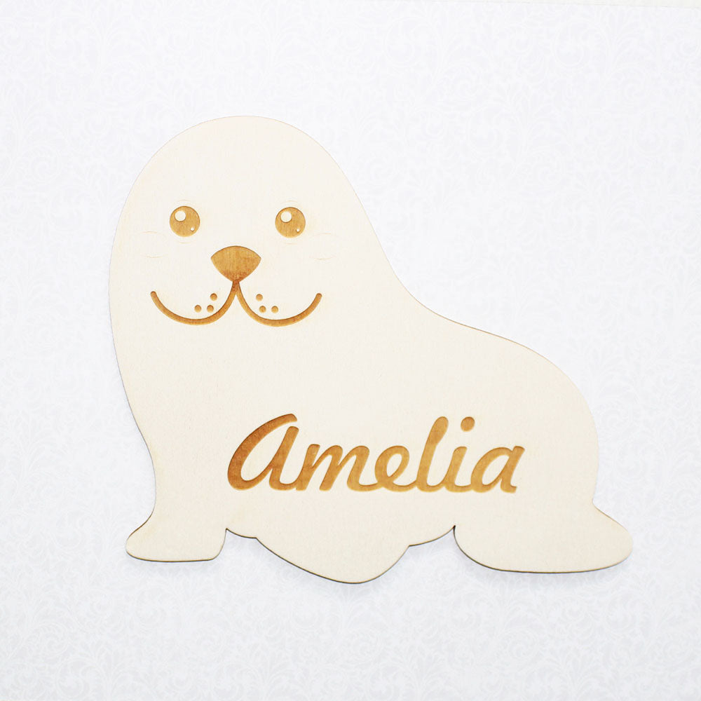 Personalised Wooden Baby Seal Bedroom Sign