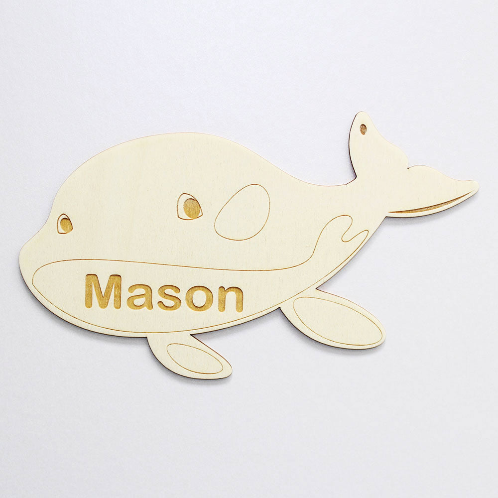 Personalised Wooden Whale Bedroom Sign
