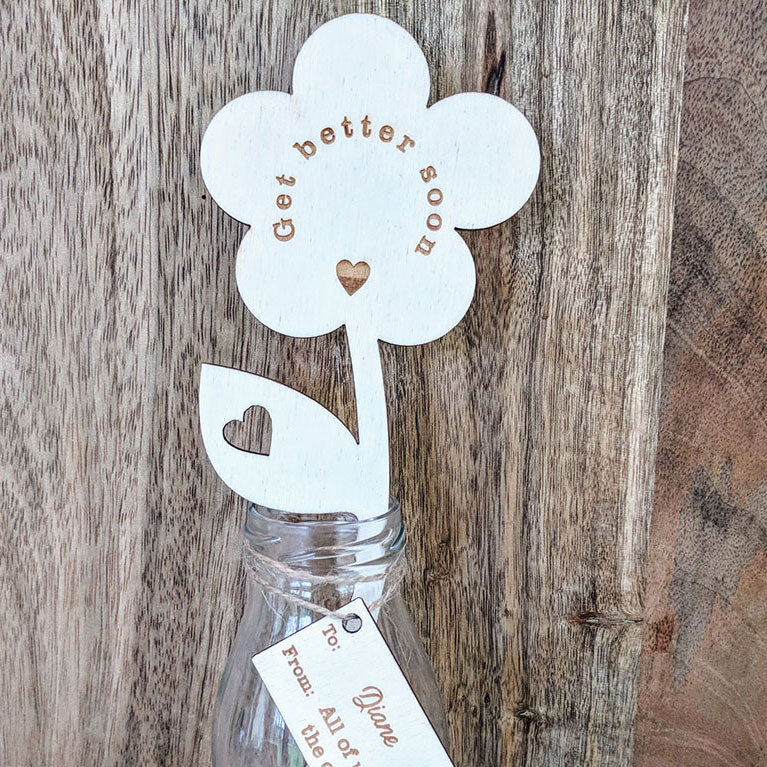 Personalised Get Better Soon Wooden Flower with Small Vase