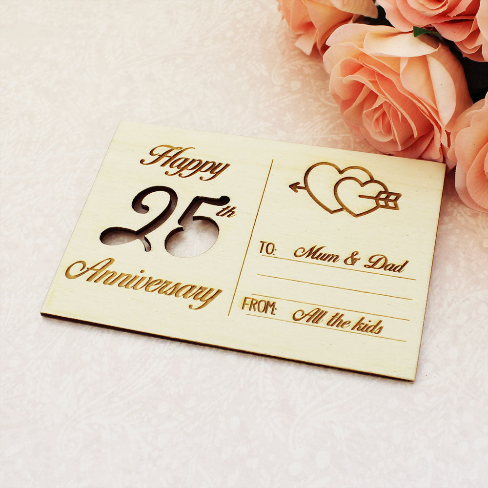 Personalised Wooden Cutout Happy Anniversary Postcard