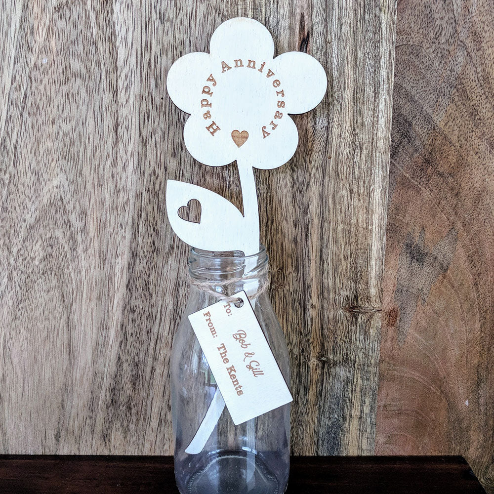 Personalised Happy Anniversary Wooden Flower with Small Vase