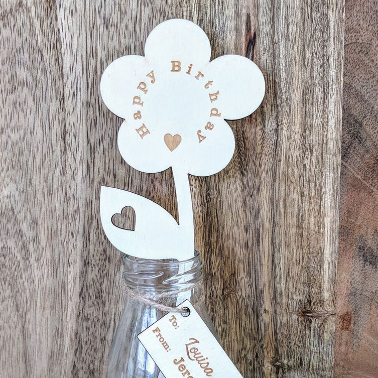 Personalised Happy Birthday Wooden Flower with Small Vase