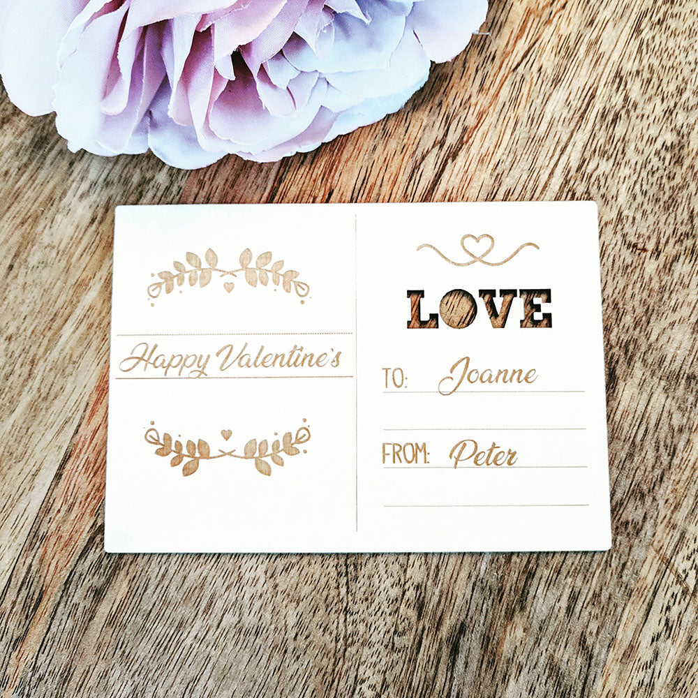 Personalised Wooden Happy Valentines Day Card - Love You