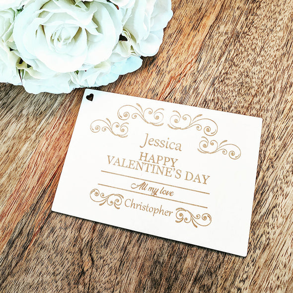 Personalised Wooden Happy Valentine's Day Card - Swirls
