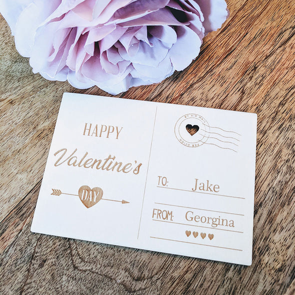 Personalised Wooden Happy Valentines Day Card