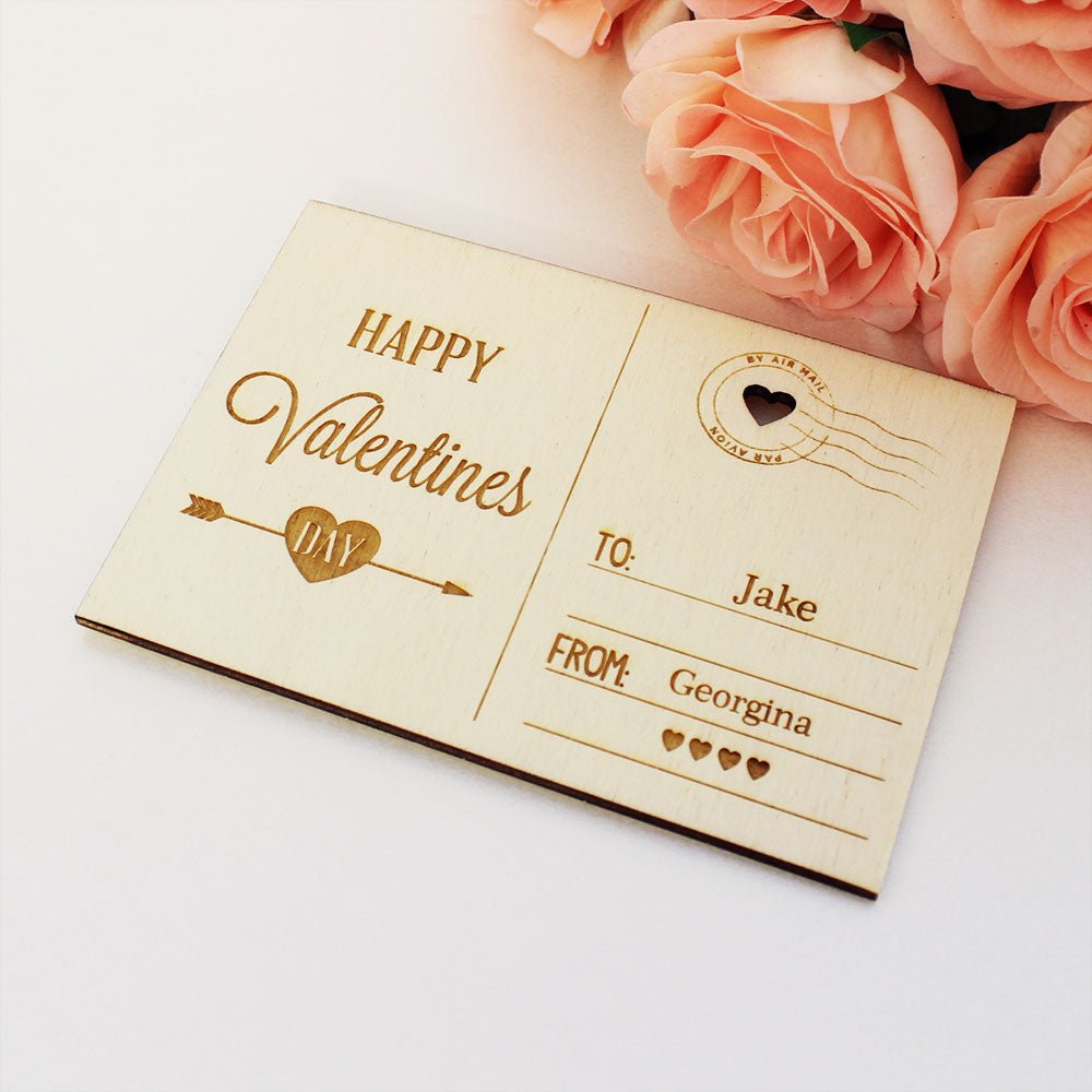 Personalised Wooden Happy Valentines Day Postcard