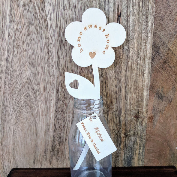 Personalised Home Sweet Home Wooden Flower with Small Vase
