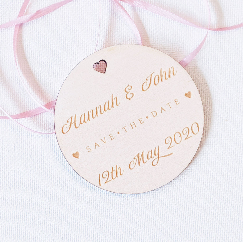 Personalised Wooden Save the Date Wedding Invitation Magnet - Circle