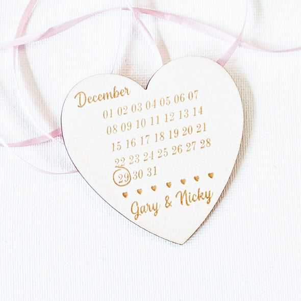 Personalised Wooden Save the Date Wedding Invitation Magnet - Heart 1