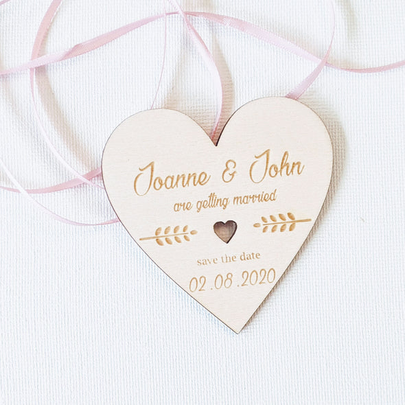 Personalised Wooden Save the Date Wedding Invitation Magnet - Heart 4