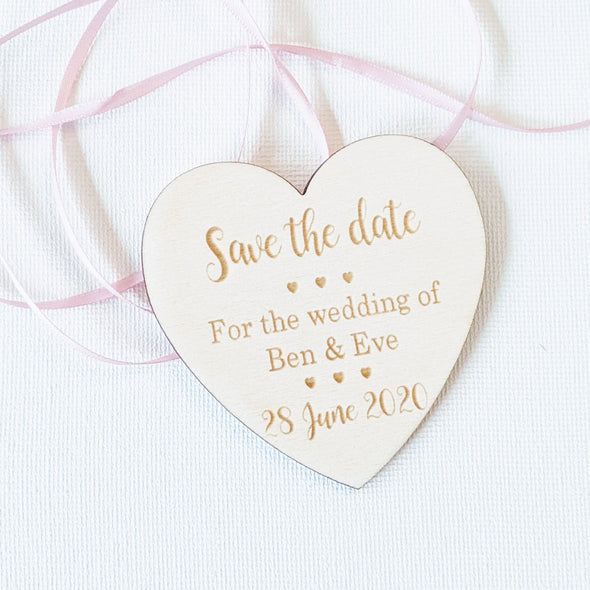 Personalised Wooden Save the Date Wedding Invitation Magnet - Heart 2