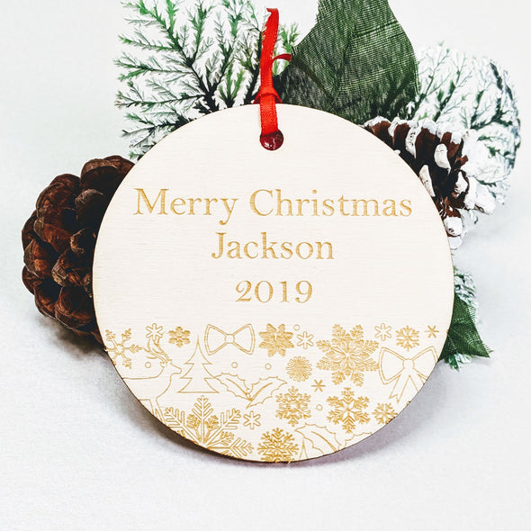 Personalised Wooden Christmas Tree Decoration - Festive Bauble