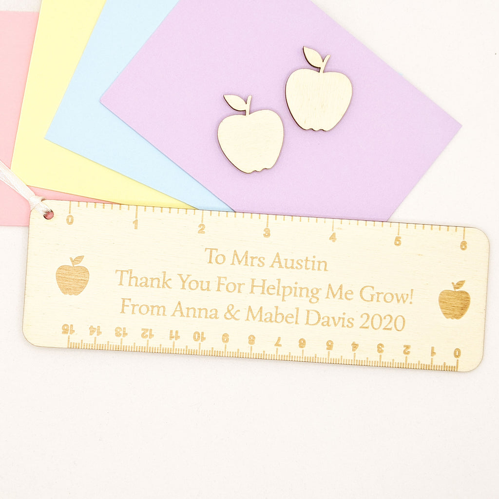 Personalised Wooden Thank You Teacher Ruler - Style 2