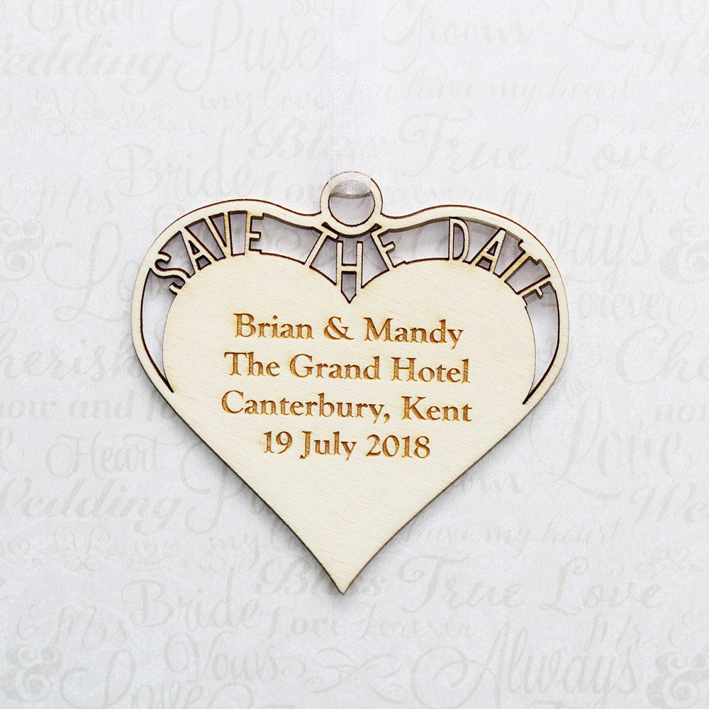 Personalised Wooden Cut Out Save the Date Heart