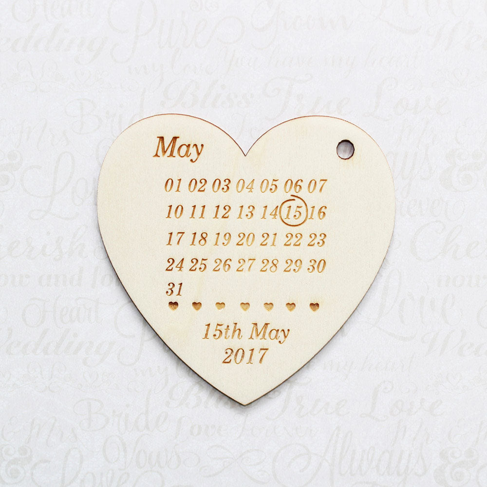 Personalised Wooden Calendar Save the Date Heart
