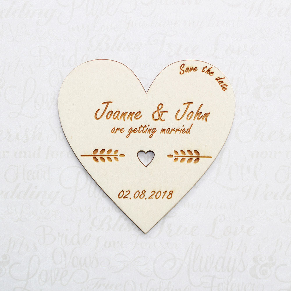 Personalised Wooden Centre Heart Save the Date Heart