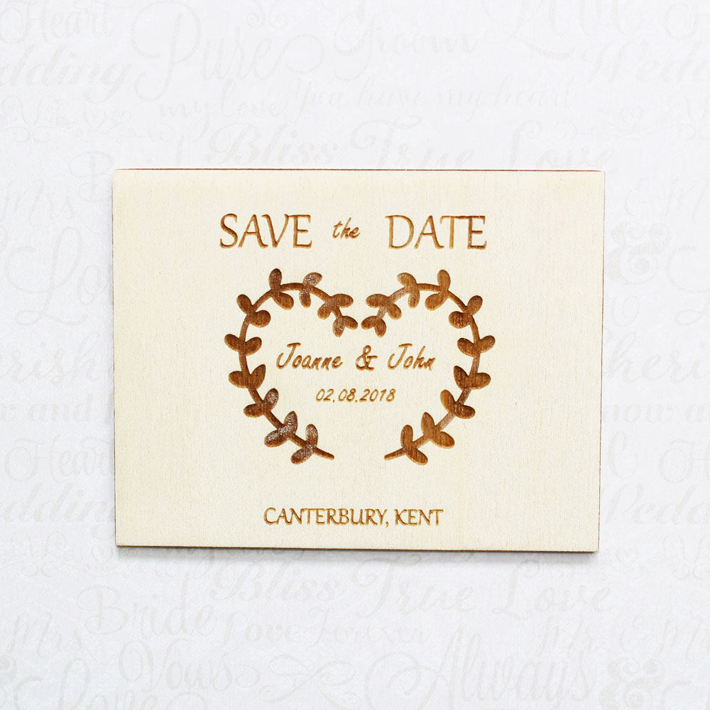 Personalised Wooden Heart Wreath Save the Date Wedding Invitation Plaque