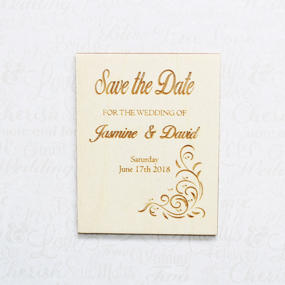 Personalised Wooden Floral Save the Date Wedding Invitation Plaque