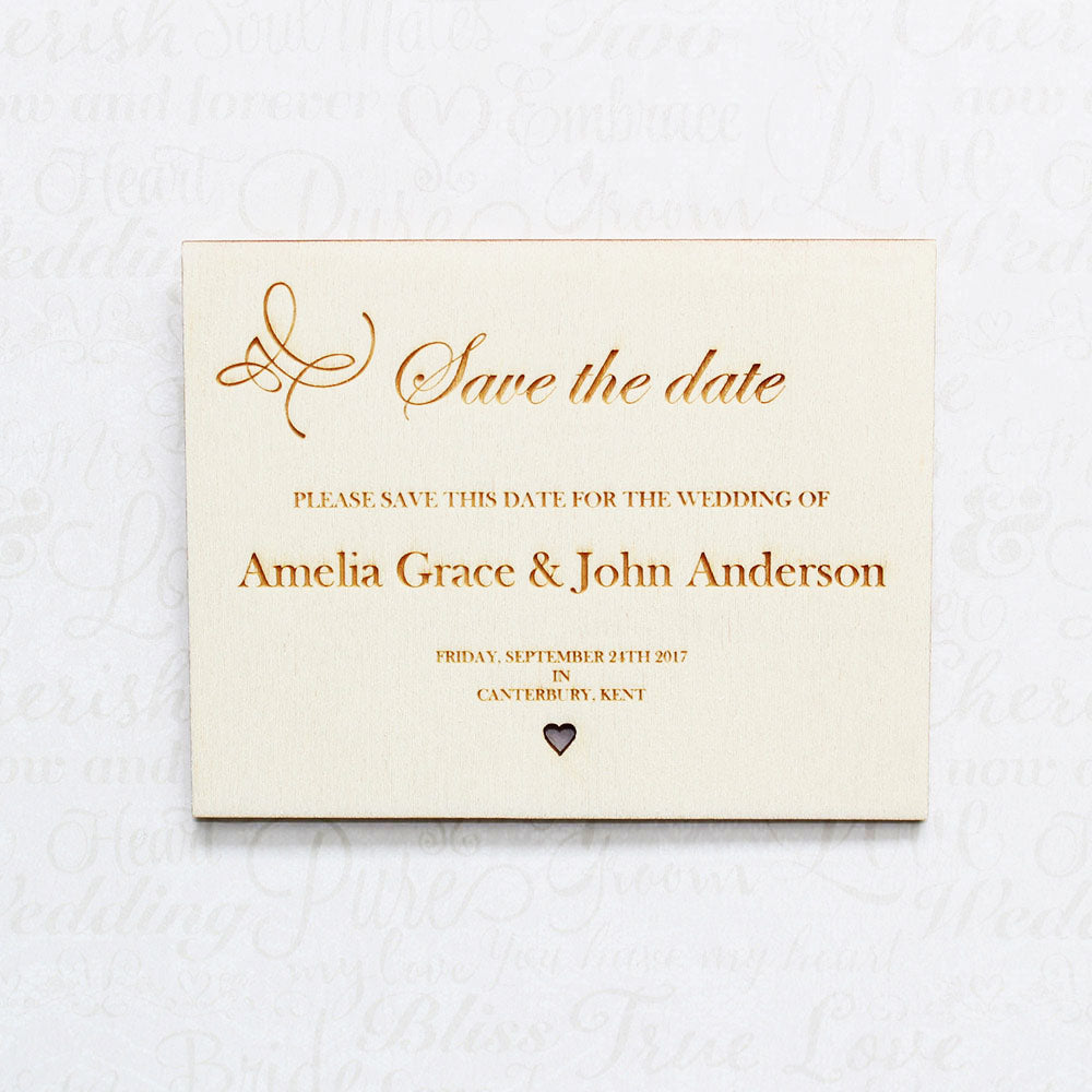 Personalised Wooden Swirl Save the Date Wedding Invitation Plaque