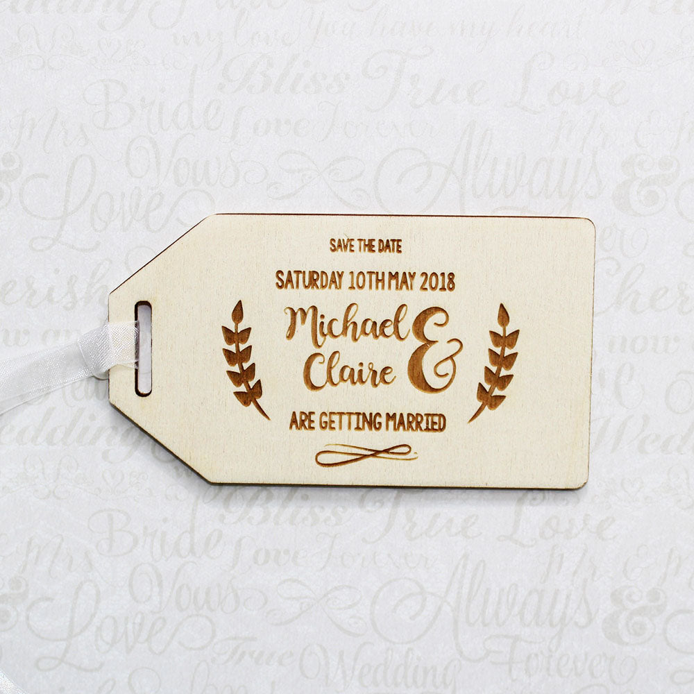 Personalised Wooden Reeds Save the Date Wedding Invitation Tag