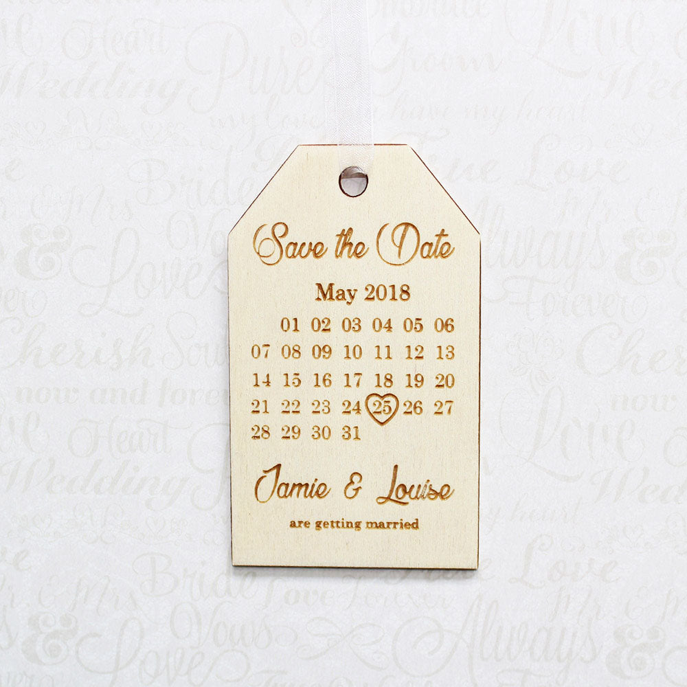 Personalised Wooden Calendar Save the Date Wedding Invitation Tag