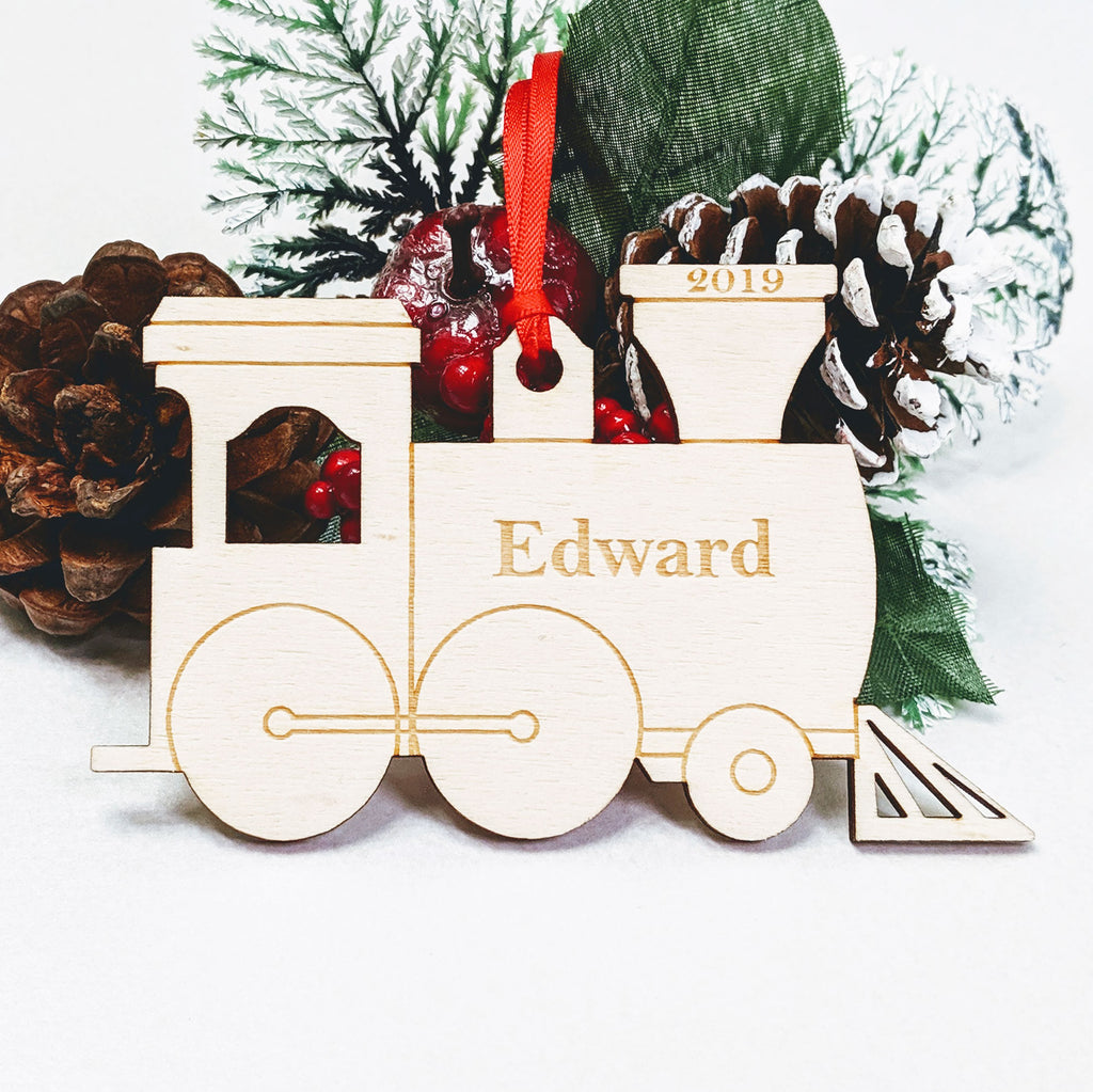Personalised Wooden Christmas Tree Decoration - Steam Train